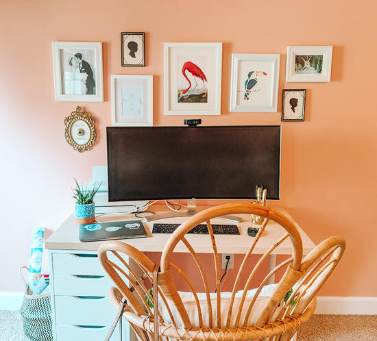 work from home desk area