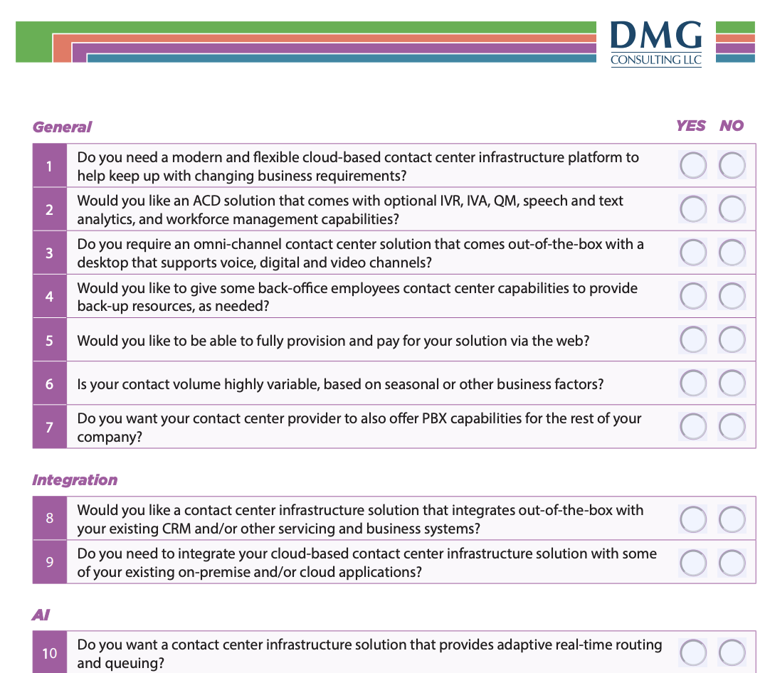 DMG Contact Center Vendor Checklist